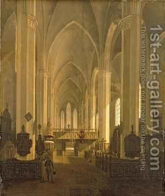 Interior view of St. John's Church in Hamburg by Jess (Jens) Bundsen - Reproduction Oil Painting