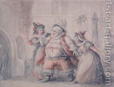 Falstaff's Escape by Henry William Bunbury - Reproduction Oil Painting