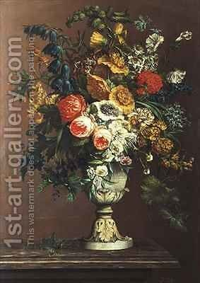 Still Life of Flowers in a Classical Vase by J. Buiterveld - Reproduction Oil Painting