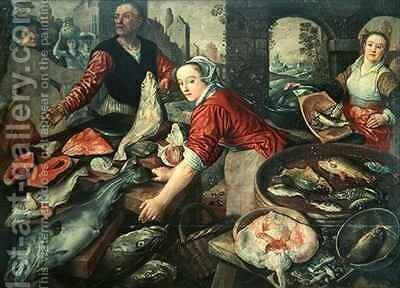 The Fish Market by Joachim Bueckelaer - Reproduction Oil Painting
