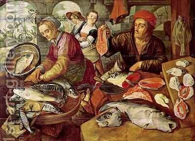 The Fish Market 2 by Joachim Bueckelaer - Reproduction Oil Painting