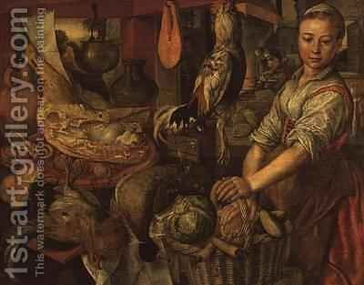 Interior of a kitchen by Joachim Bueckelaer - Reproduction Oil Painting