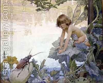 The Fairy and the Beetle by Arthur Herbert Buckland - Reproduction Oil Painting