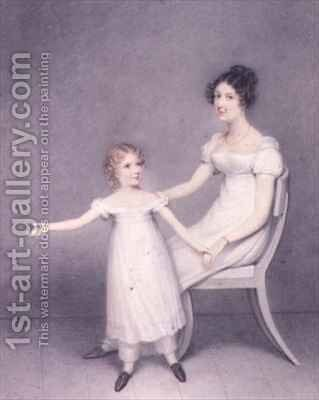 Lady Louth, Daughter of the 13th Baron Dunsany, with her Daughter by Adam Buck - Reproduction Oil Painting