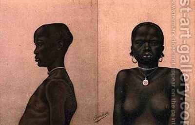 Waganda boy and Dinka girl by (after) Buchta, Richard - Reproduction Oil Painting