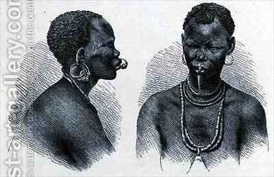 Moru woman with lip ornament by (after) Buchta, Richard - Reproduction Oil Painting