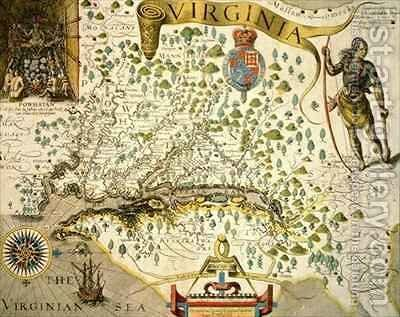 Sloane MS 1622 Map of Virginia by (after) Bry, Theodore de - Reproduction Oil Painting