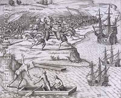 Battle in Jamaica between Christopher Columbus (1451-1506) and Francisco Poraz by (after) Bry, Theodore de - Reproduction Oil Painting