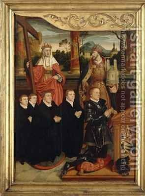 The Mayor of Cologne Arnold von Siegen, kneeling as Founder with Four Sons on front of Saints Helena and Emperor Heinrich by Bartholomaeus, the Elder Bruyn - Reproduction Oil Painting