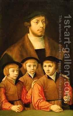 Portrait of a Man and His Three Sons by Bartholomaeus, the Elder Bruyn - Reproduction Oil Painting