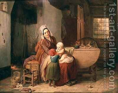 The Happy Mother by Antoine de Bruycker - Reproduction Oil Painting