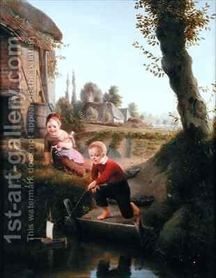 Two children playing with a boat by Antoine de Bruycker - Reproduction Oil Painting