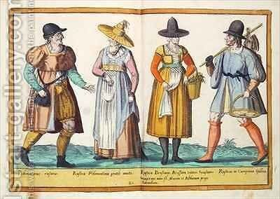 Sixteenth century costumes from 'Omnium Poene Gentium Imagines' 4 by Abraham de Bruyn - Reproduction Oil Painting