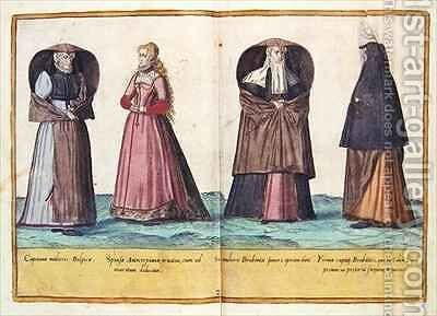 Sixteenth century costumes from 'Omnium Poene Gentium Imagines' 7 by Abraham de Bruyn - Reproduction Oil Painting