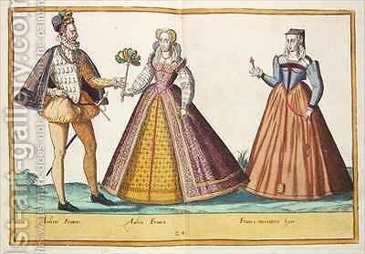 Sixteenth century costumes from 'Omnium Poene Gentium Imagines' 10 by Abraham de Bruyn - Reproduction Oil Painting