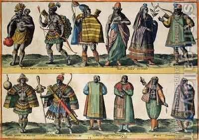 North American Indians, Indian and Oriental Costumes, South American Indians and African and Moorish Costumes, from 'Costumes of Different Nations of Europe, Asia, Africa and America' by Abraham de Bruyn - Reproduction Oil Painting
