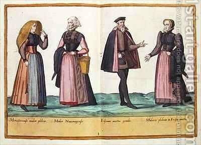 Sixteenth century costumes from 'Omnium Poene Gentium Imagines' 12 by Abraham de Bruyn - Reproduction Oil Painting