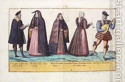 Sixteenth century costumes from 'Omnium Poene Gentium Imagines' 13 by Abraham de Bruyn - Reproduction Oil Painting