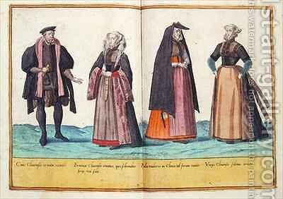 Sixteenth century costumes from 'Omnium Poene Gentium Imagines' 15 by Abraham de Bruyn - Reproduction Oil Painting