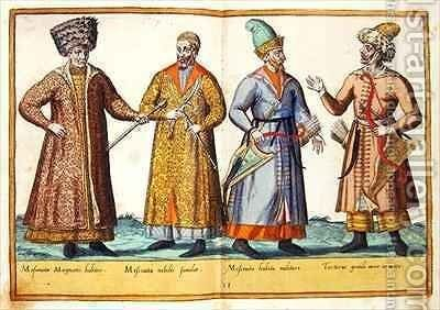 Sixteenth century costumes from 'Omnium Poene Gentium Imagines' 28 by Abraham de Bruyn - Reproduction Oil Painting