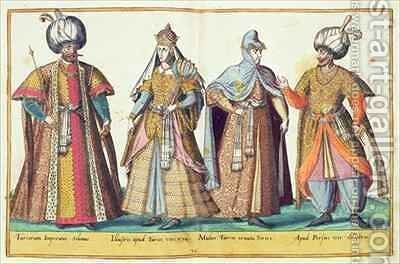 Sixteenth century costumes from 'Omnium Poene Gentium Imagines' 29 by Abraham de Bruyn - Reproduction Oil Painting