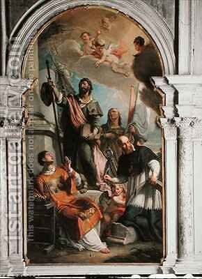 St. Lawrence, St. Francis of Sales, St. Rocco and St. Anne by Girolamo Brusaferro - Reproduction Oil Painting