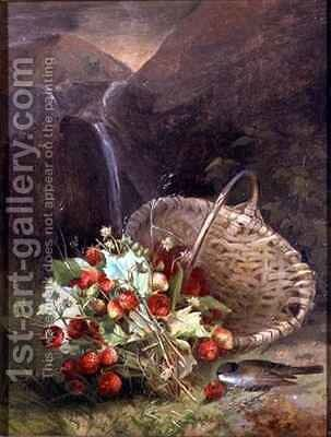 Bunch of Wild Strawberries by a Basket by A. de Brus - Reproduction Oil Painting
