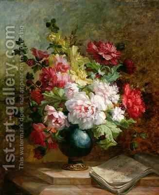 Still life with flowers and sheet music by Emile Henri Brunner-Lacoste - Reproduction Oil Painting