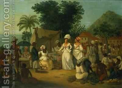 A linen market with a linen stall and a vegetable seller in a Colonial settlement by Agostino Brunias - Reproduction Oil Painting