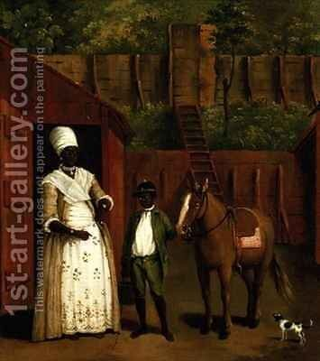 A Negro Mother and Son with a Pony outside a Stable by Agostino Brunias - Reproduction Oil Painting