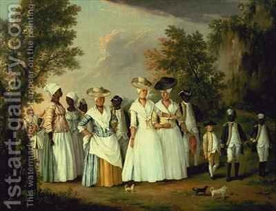 Three Ladies with two Children and eight Negro Servants by Agostino Brunias - Reproduction Oil Painting
