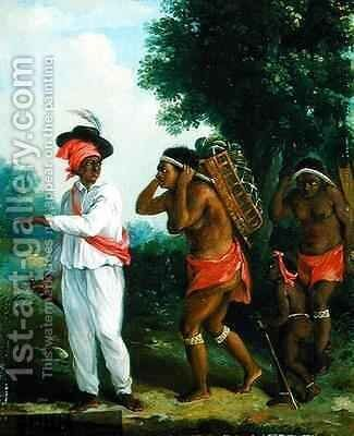 West Indian Man of Colour, Directing two Carib Women with a Child by Agostino Brunias - Reproduction Oil Painting
