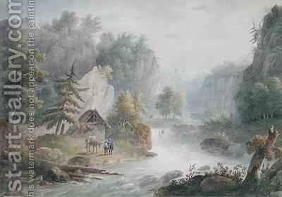 Mountainous Landscape with a Torrent by Christian Brune - Reproduction Oil Painting