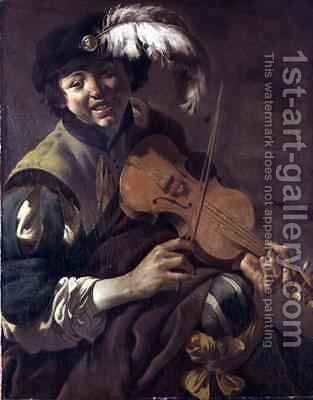 A Boy Playing the Violin by Hendrick Ter Brugghen - Reproduction Oil Painting