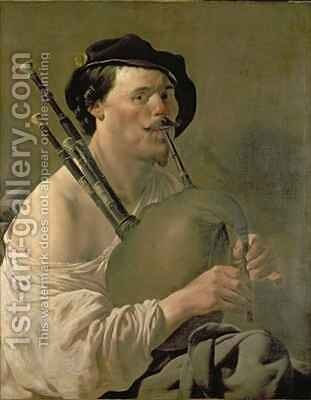 A Man Playing the Bagpipes by Hendrick Ter Brugghen - Reproduction Oil Painting