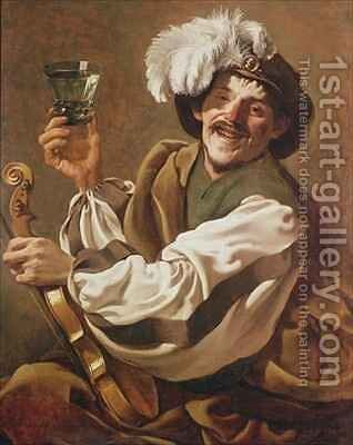 A Violin Player with a Glass of Wine by Hendrick Ter Brugghen - Reproduction Oil Painting