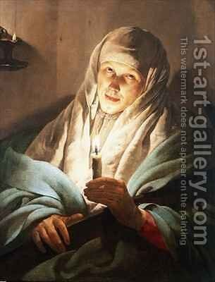 A Woman with a Candle and Cross by Hendrick Ter Brugghen - Reproduction Oil Painting