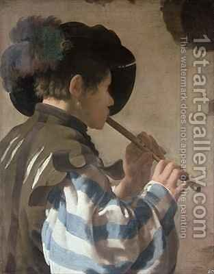 Knave Playing a Fife by Hendrick Ter Brugghen - Reproduction Oil Painting