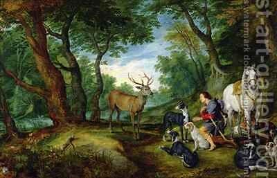 The Vision of St. Hubert by Jan & Rubens, P.P. Brueghel - Reproduction Oil Painting