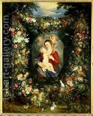 The Virgin and child in a garland of fruit and flowers by Jan & Rubens, P.P. Brueghel - Reproduction Oil Painting