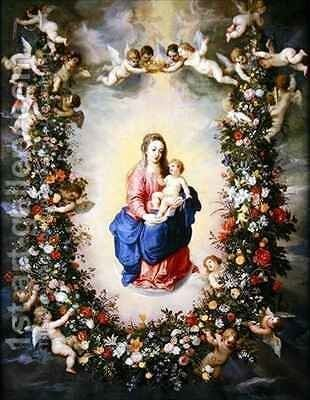 The Virgin and Child encircled by a garland of flowers by Jan & Balen, Hendrik van Brueghel - Reproduction Oil Painting