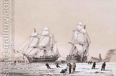 Remarkable appearance in the sky always opposite the sun (top) and The Devils Thumb, ships boring and warping in the pack (bottom) by (after) Browne, William Henry - Reproduction Oil Painting