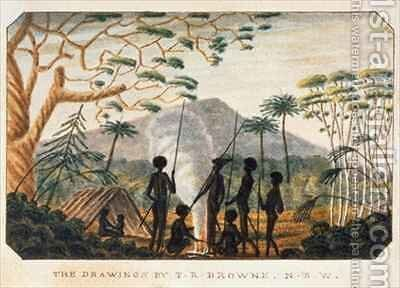 Group of aborigines around a campfire by T.R. Browne - Reproduction Oil Painting