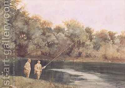 At the Vale of Health Pond, Hampstead Heath by James Loxham Browne - Reproduction Oil Painting