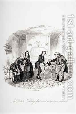 Mr. Ralph Nickleby's first visit to his poor relations by Hablot Knight Browne - Reproduction Oil Painting