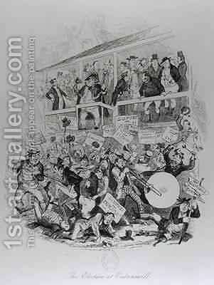 Mr Pickwick on Election Day at Eatenswill by Hablot Knight Browne - Reproduction Oil Painting