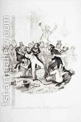 The last brawl between Sir Mulberry and his pupil by Hablot Knight Browne - Reproduction Oil Painting