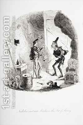 Nicholas instructs Smike in the art of acting by Hablot Knight Browne - Reproduction Oil Painting