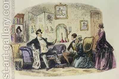 Prince Turveydrop blesses his son and daughter-in-law when they announce their engagement with Esther Summerson looking on by Hablot Knight Browne - Reproduction Oil Painting