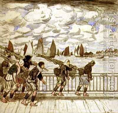 Shrimpers Returning, Etaples by Thomas Austen Brown - Reproduction Oil Painting